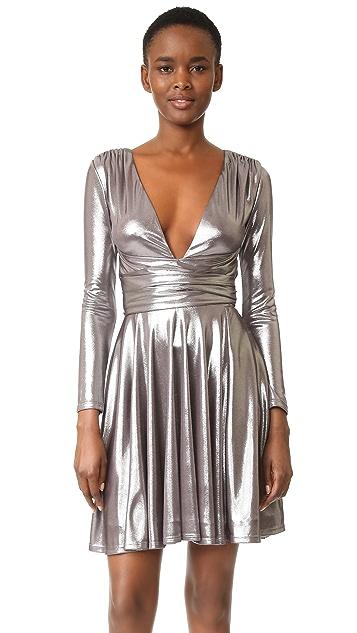 Halston Heritage Draped Metallic Dress
