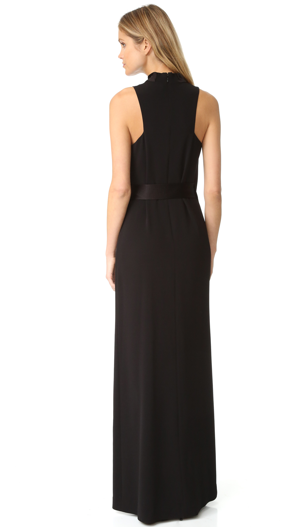 3157cd0214 Halston Heritage Draped Neck Satin Gown with Belt