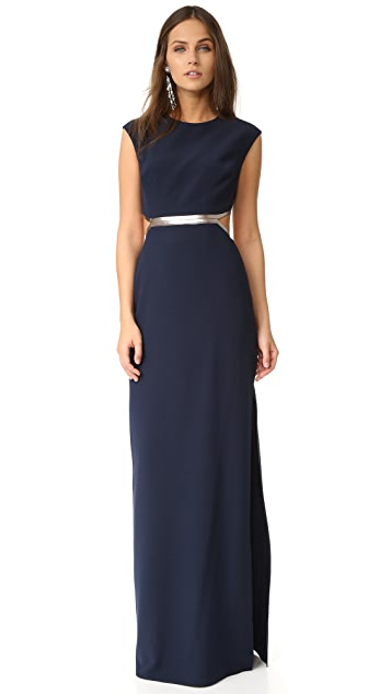 Halston Heritage Gown with Metallic Detail