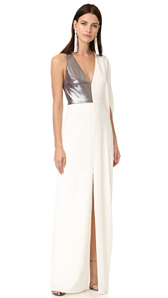 Halston Heritage Asymmetrical Deep V Neck Gown
