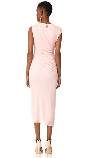 Halston Heritage Round Neck Draped Dress