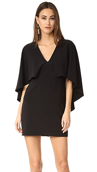 Halston Heritage V Neck Crepe Dress with Cape - Black