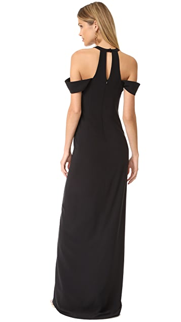 Halston Heritage Cold Shoulder Round Neck Gown