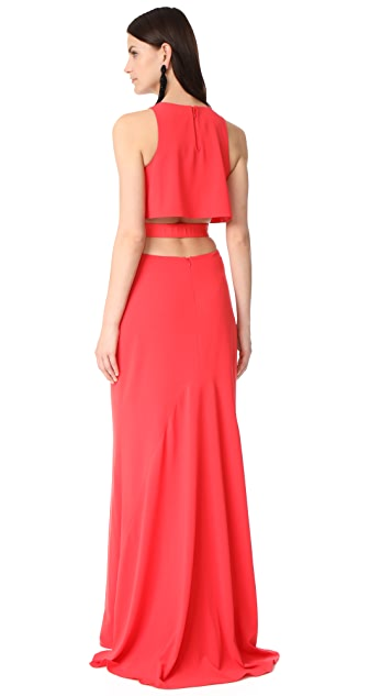 Halston Heritage Round Neck Gown with Back Cutout