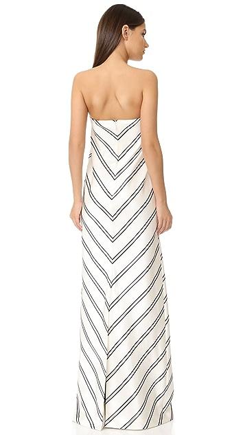 Halston Heritage Strapless Variegated Stripe Gown
