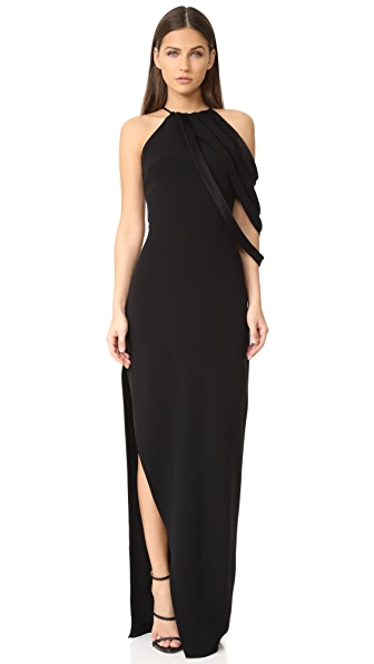 Halston Heritage Round Neck Gown with Strip Detail - Black