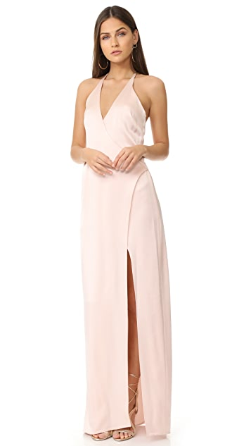 Halston Heritage V Neck Slip Gown with T Back