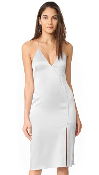 Halston Heritage V Neck Slip Dress with Slit - Fog