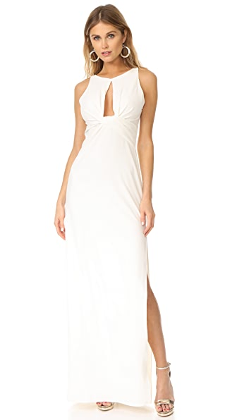 Halston Heritage Round Neck Gown with Twisted Front - Chalk