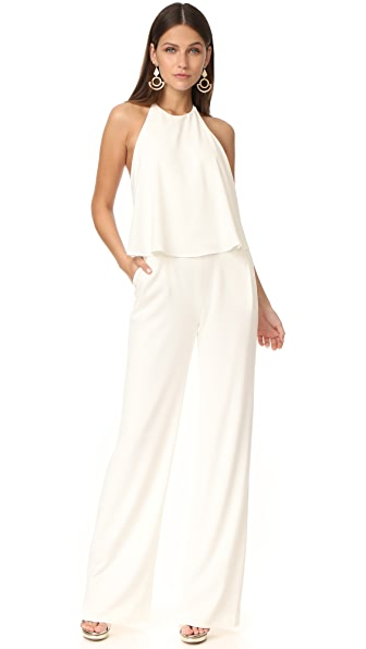 Halston Heritage Sleeveless Halter Neck Jumpsuit - Chalk