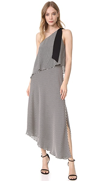 Halston Heritage One Shoulder Stripe Dress