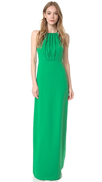 Halston Heritage Round Neck Gown with Flounce Back