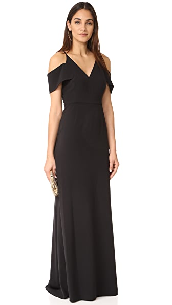 Halston Heritage Cold Shoulder Gown - Black