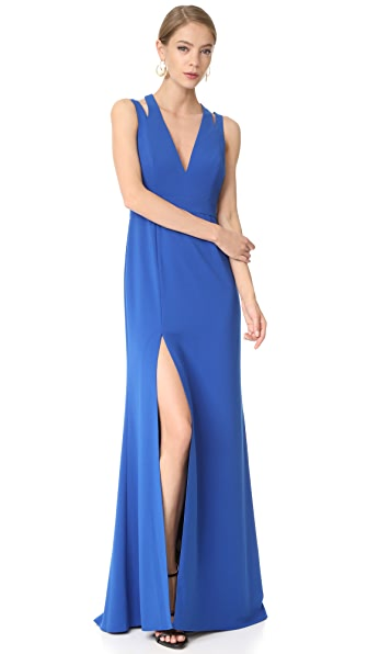 Halston Heritage Deep V Neck Gown with Back Cutouts - Cobalt
