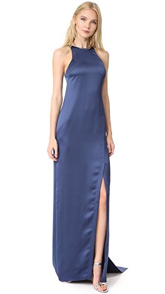 Halston Heritage High Neck Satin Gown with Back Drape In Navy