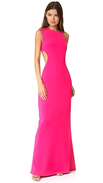 Halston Heritage Asymmetrical Gown with Back Cutout - Fuchsia Rose