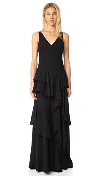 Halston Heritage V Neck Flounce Gown