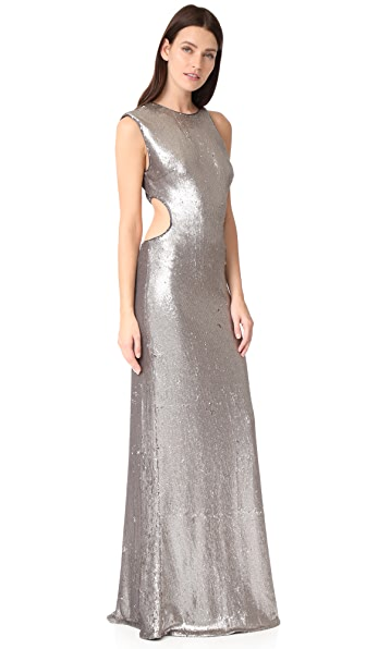 Halston Heritage Metallic Sequin Gown - Antique Silver