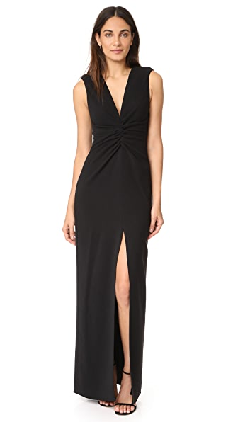 Halston Heritage Gathered Front Gown In Black