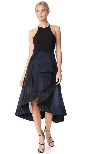 Halston Heritage High Neck Flounce Dress
