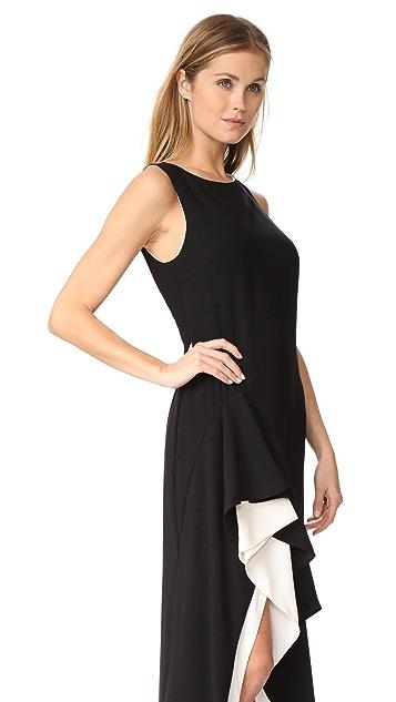 Halston Heritage Asymmetric Flounce Gown