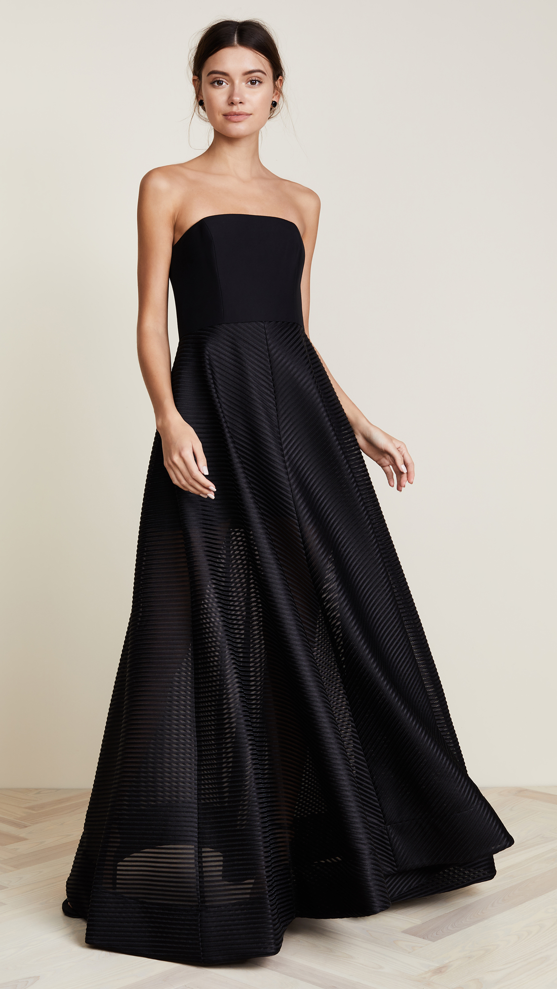 Halston Heritage Strapless Gown with Sheer Striped Skirt | SHOPBOP