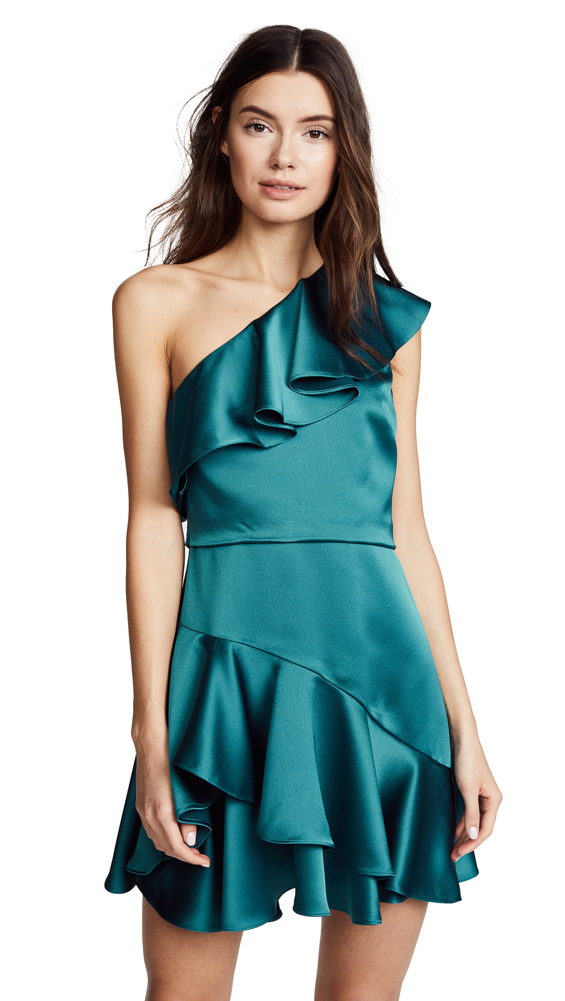 Halston Heritage One Shoulder Flounce Dress In Peacock