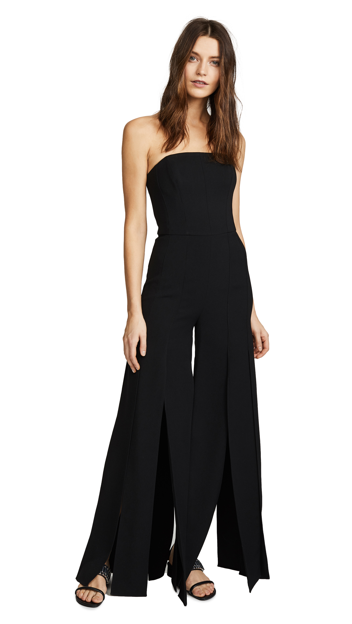 Halston Heritage Strapless Strips Jumpsuit In Black