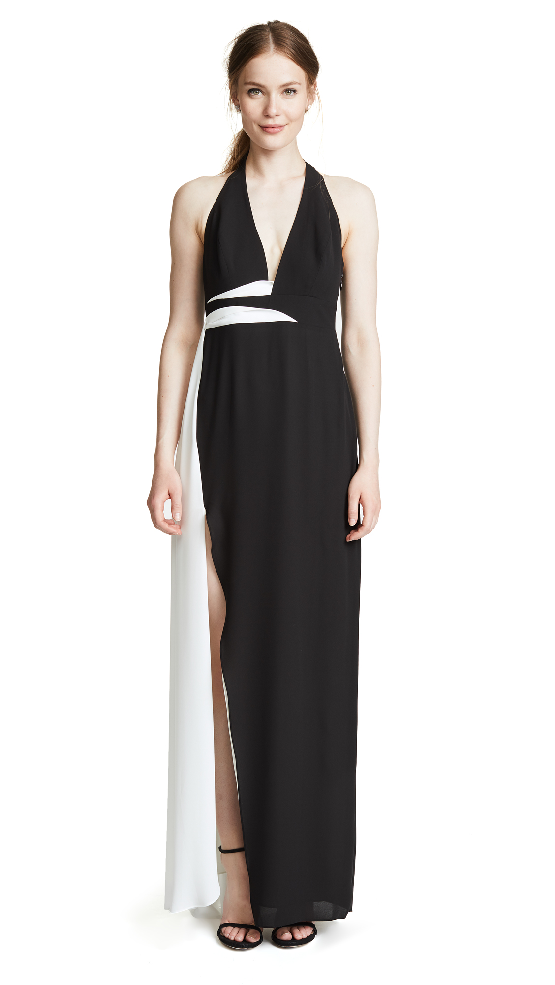 Halston Heritage V Neck Gown with Contrast Sash