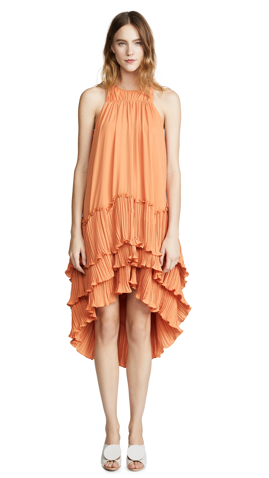 Halston Heritage Flowy Pleated Dress
