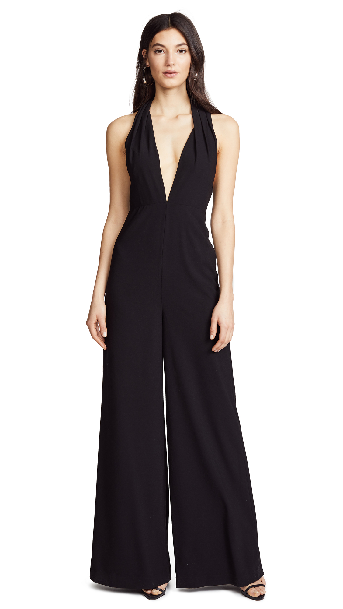 Halston Heritage Halter Neck Jumpsuit In Black