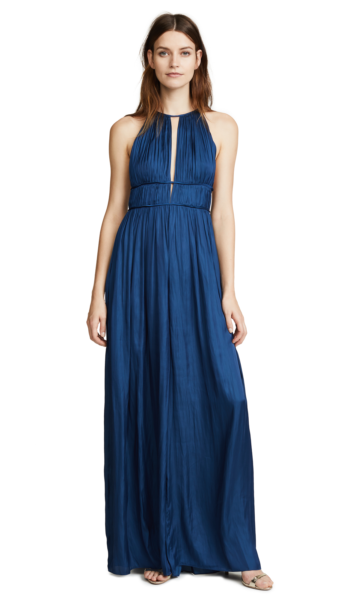 Halston Heritage Sleeveless Jumpsuit In Admiral Blue