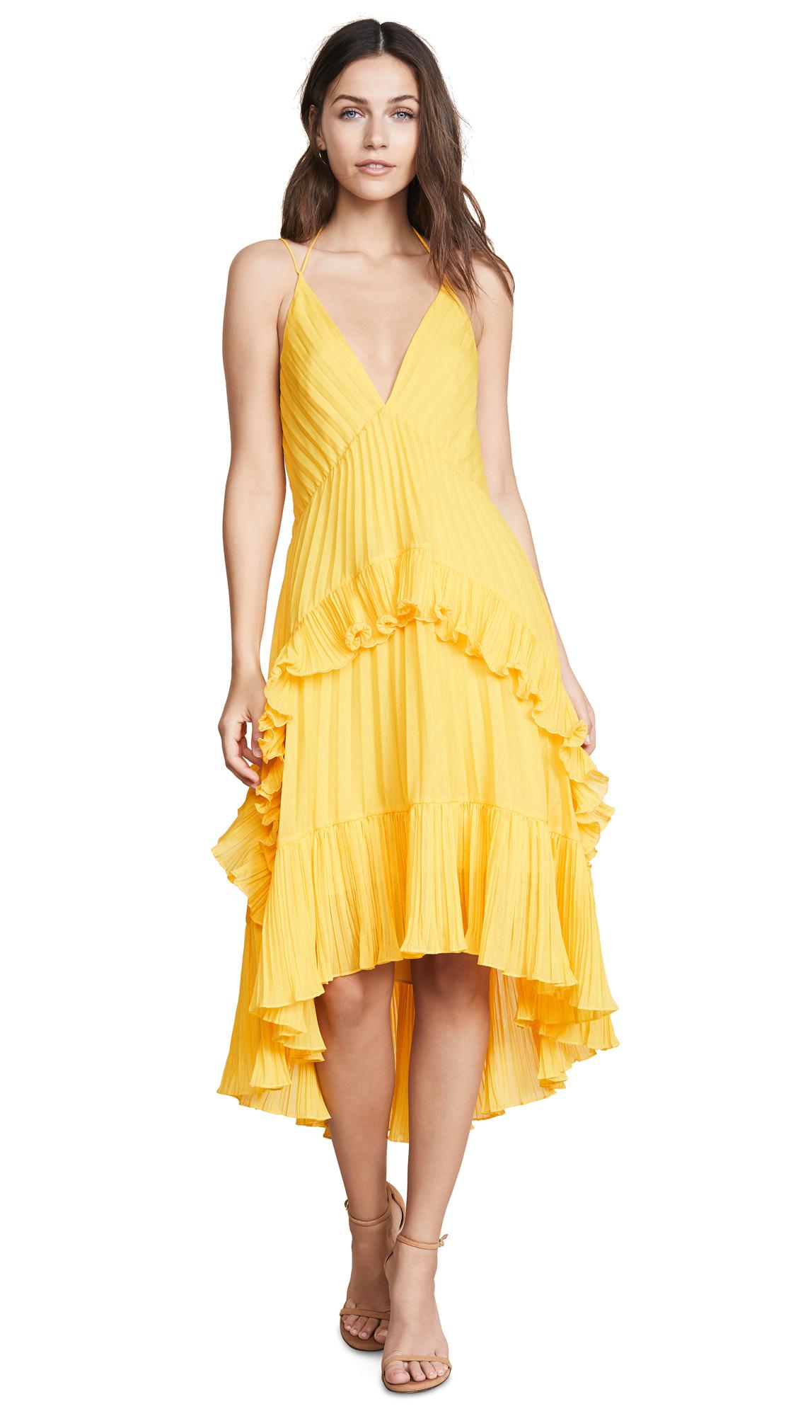 Halston Heritage Halter Pleated Dress
