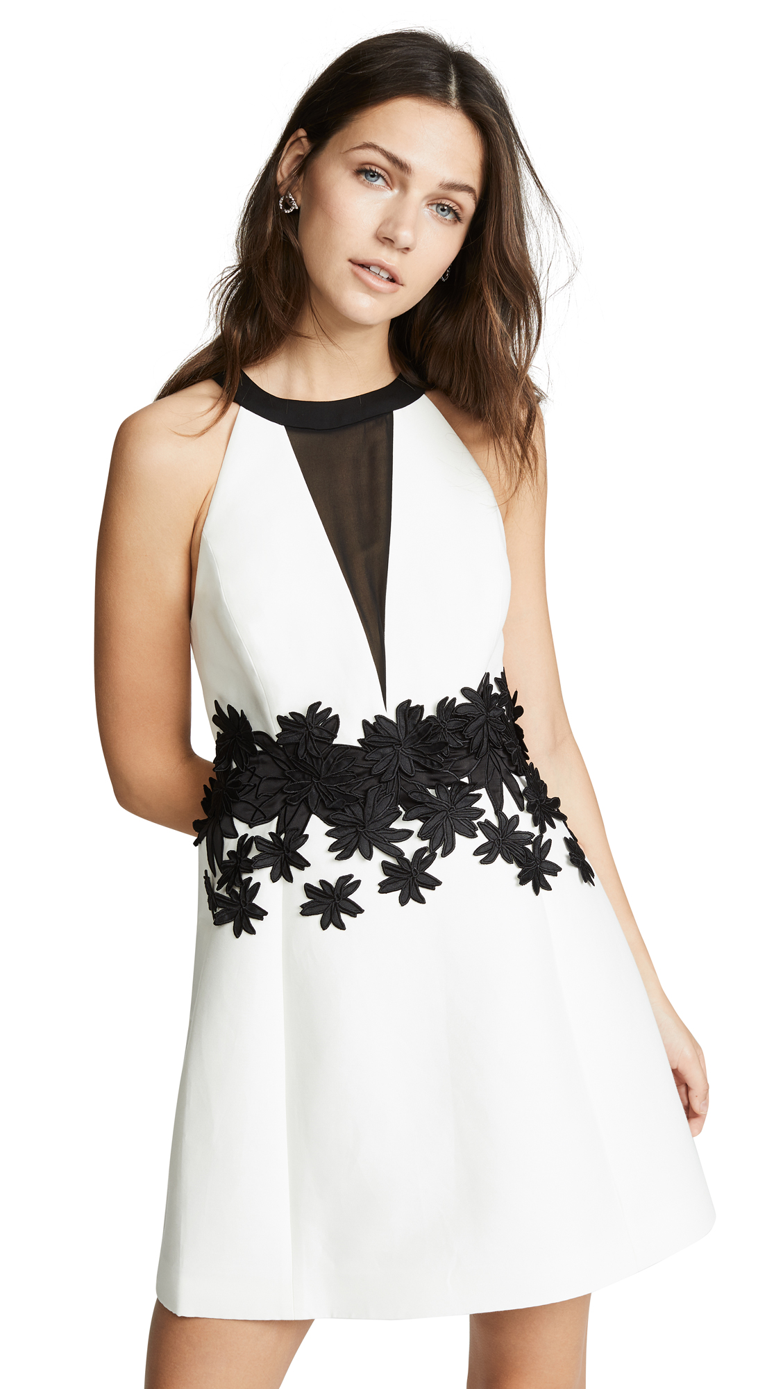 Halston Heritage Round Neck Mini Dress In Chalk/Black