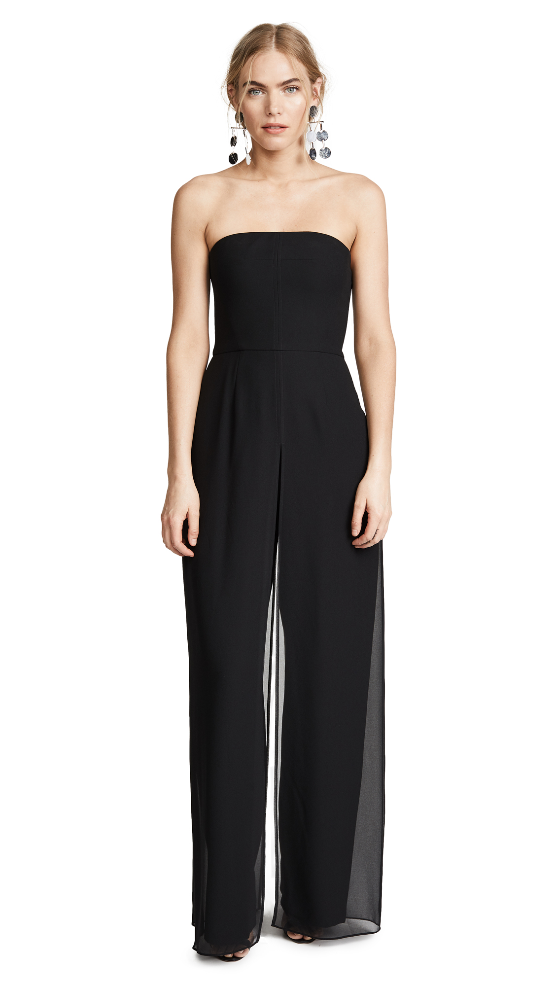 Halston Heritage Strapless Jumpsuit with Flowy Pants In Black