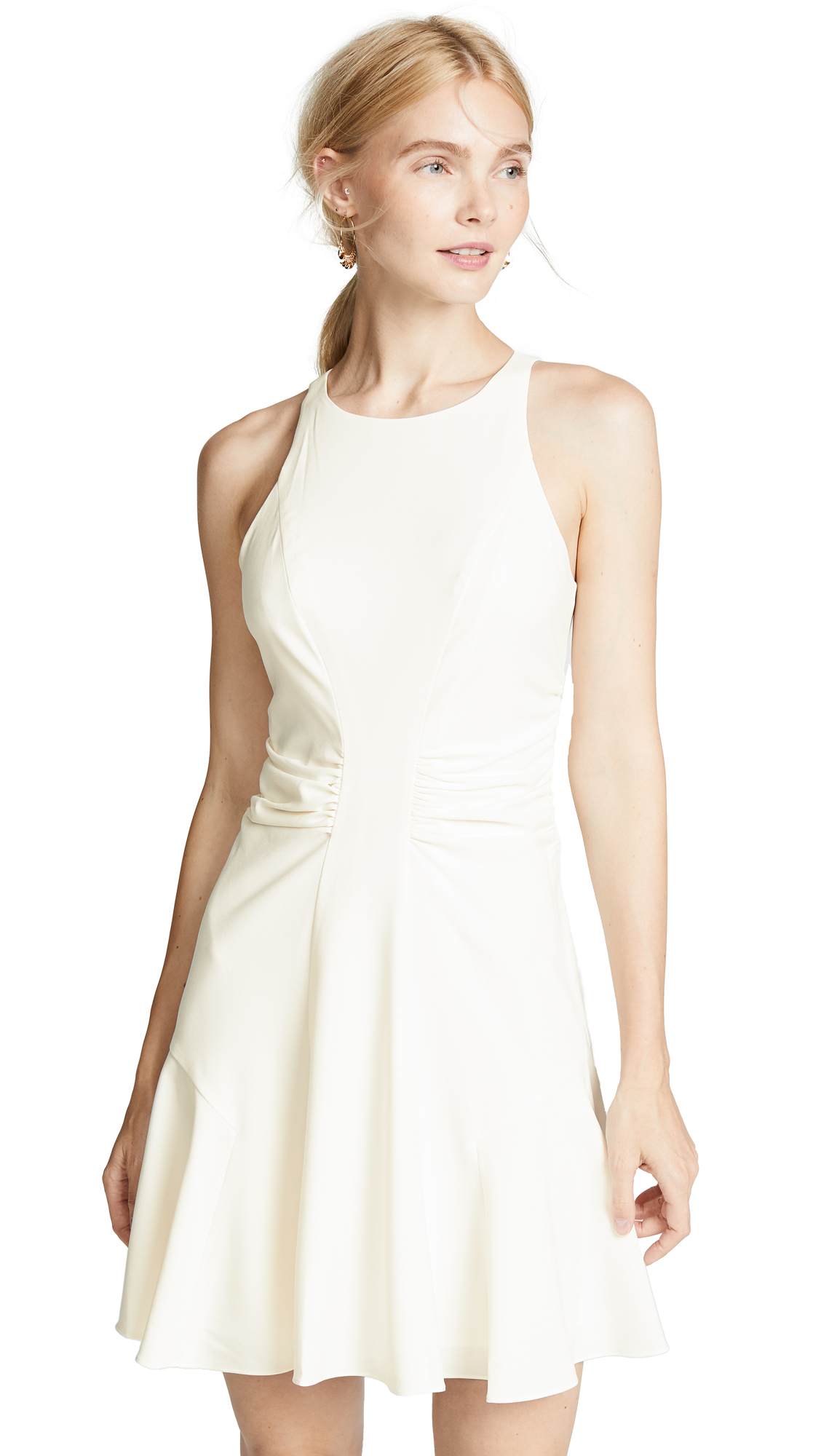 Halston Heritage Ruched Waist Dress In Chalk