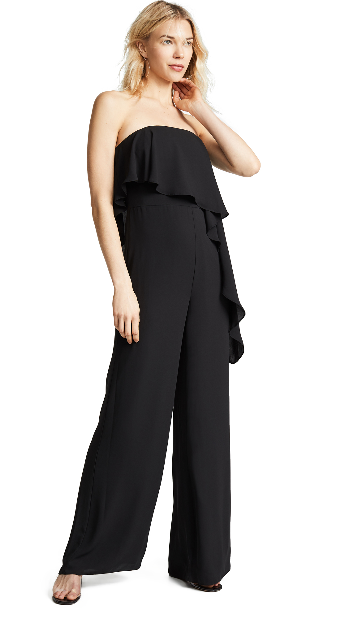 16b3cf8be0d Halston Heritage Strapless Wide Leg Jumpsuit In Black