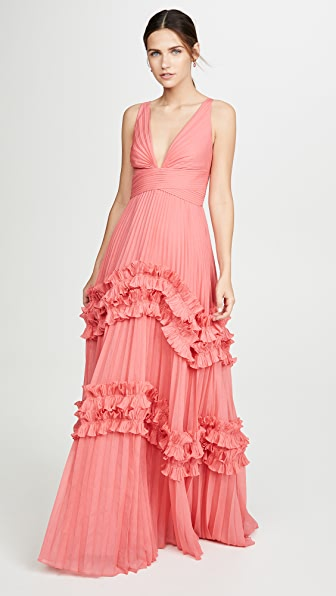 Halston Heritage Tops SLEEVELESS V NECK GOWN WITH SMOCKED RUFFLE INSERTS