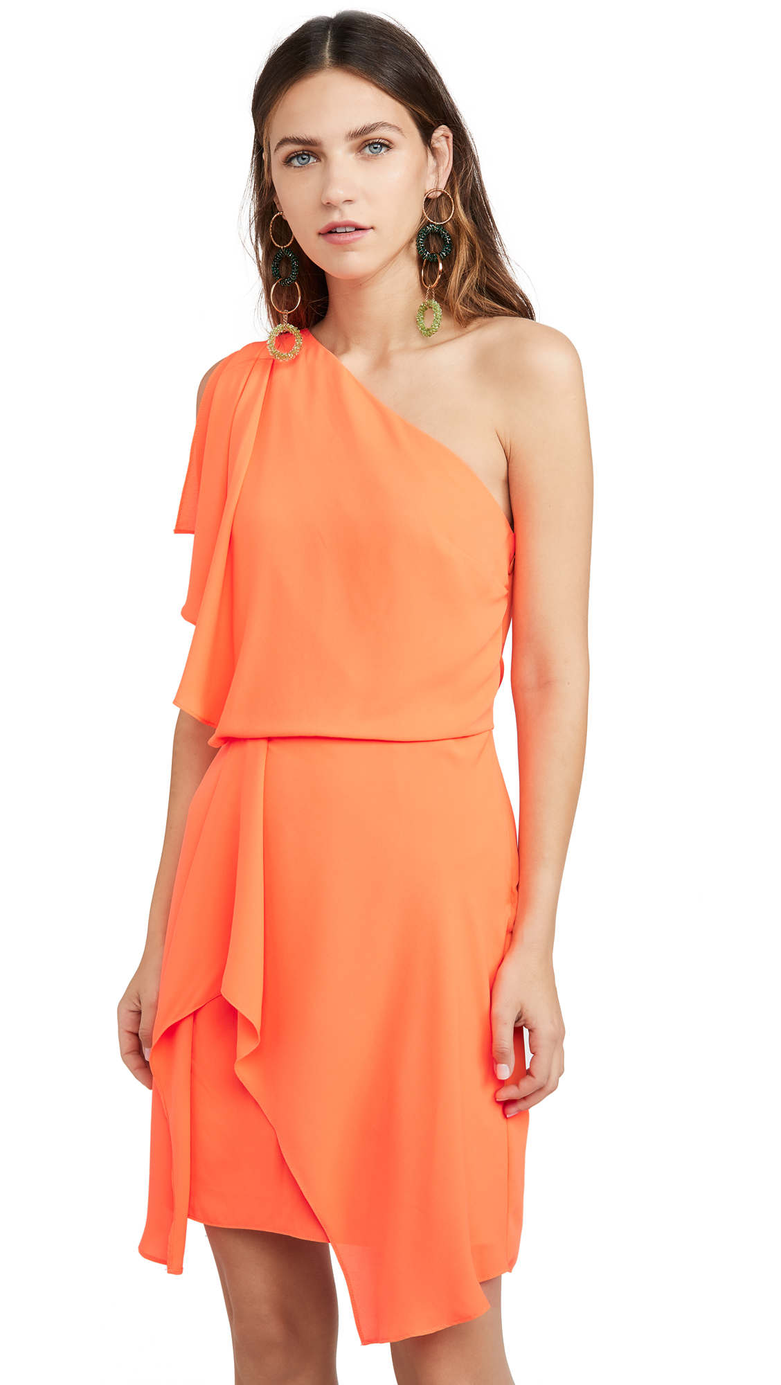 Buy HALSTON online - photo of HALSTON Neon Orange One Shoulder Dress
