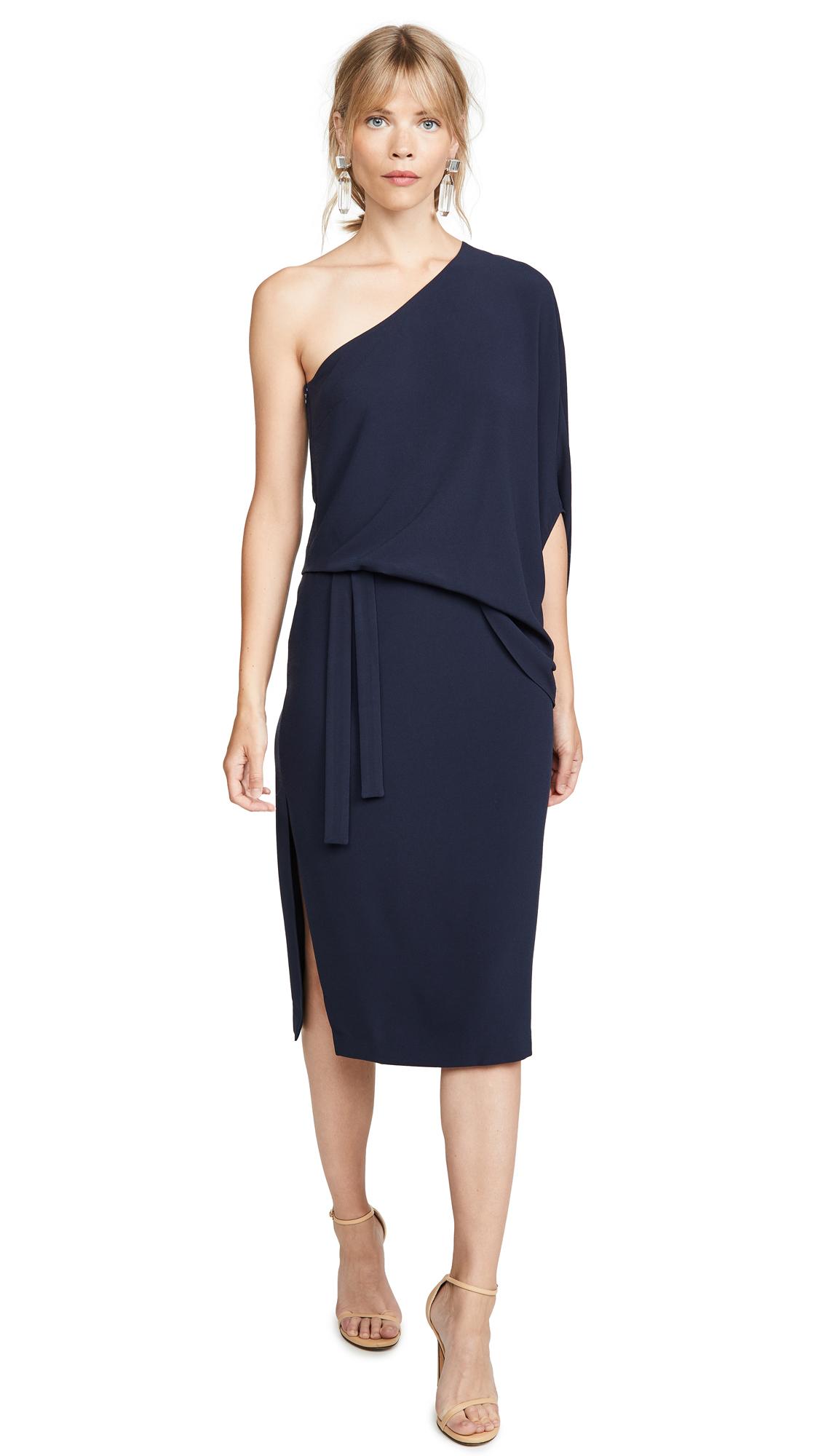 Buy HALSTON online - photo of HALSTON Draped One Shoulder Midi Dress