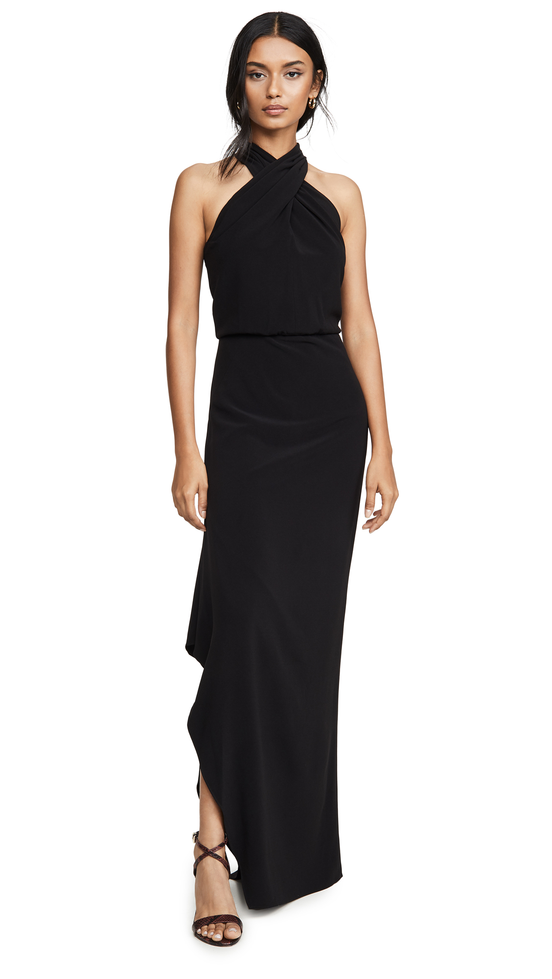 Buy HALSTON Cross Neck Crepe Gown online beautiful HALSTON Dresses, Strapless