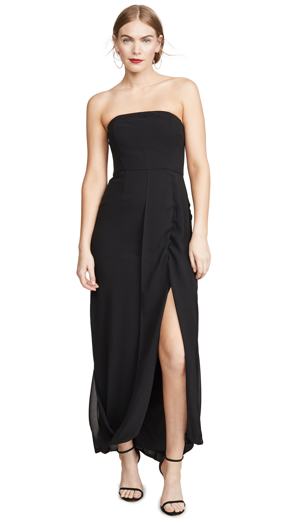 Buy HALSTON online - photo of HALSTON Strapless Draped Back Georgette Gown