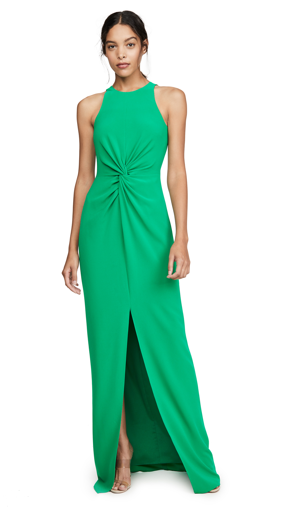 Buy HALSTON online - photo of HALSTON Twist Drape Detail Crepe Gown