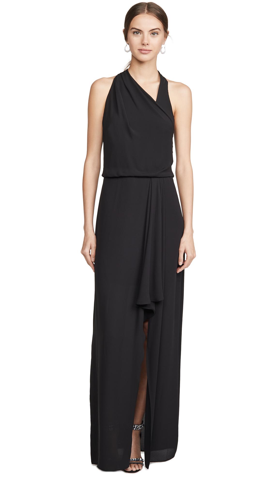 Buy HALSTON online - photo of HALSTON Asymmetric Draped Gown