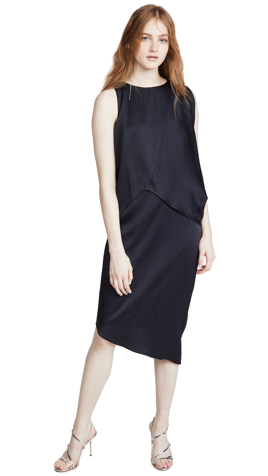 Buy HALSTON online - photo of HALSTON Asymmetrical Drape Dress