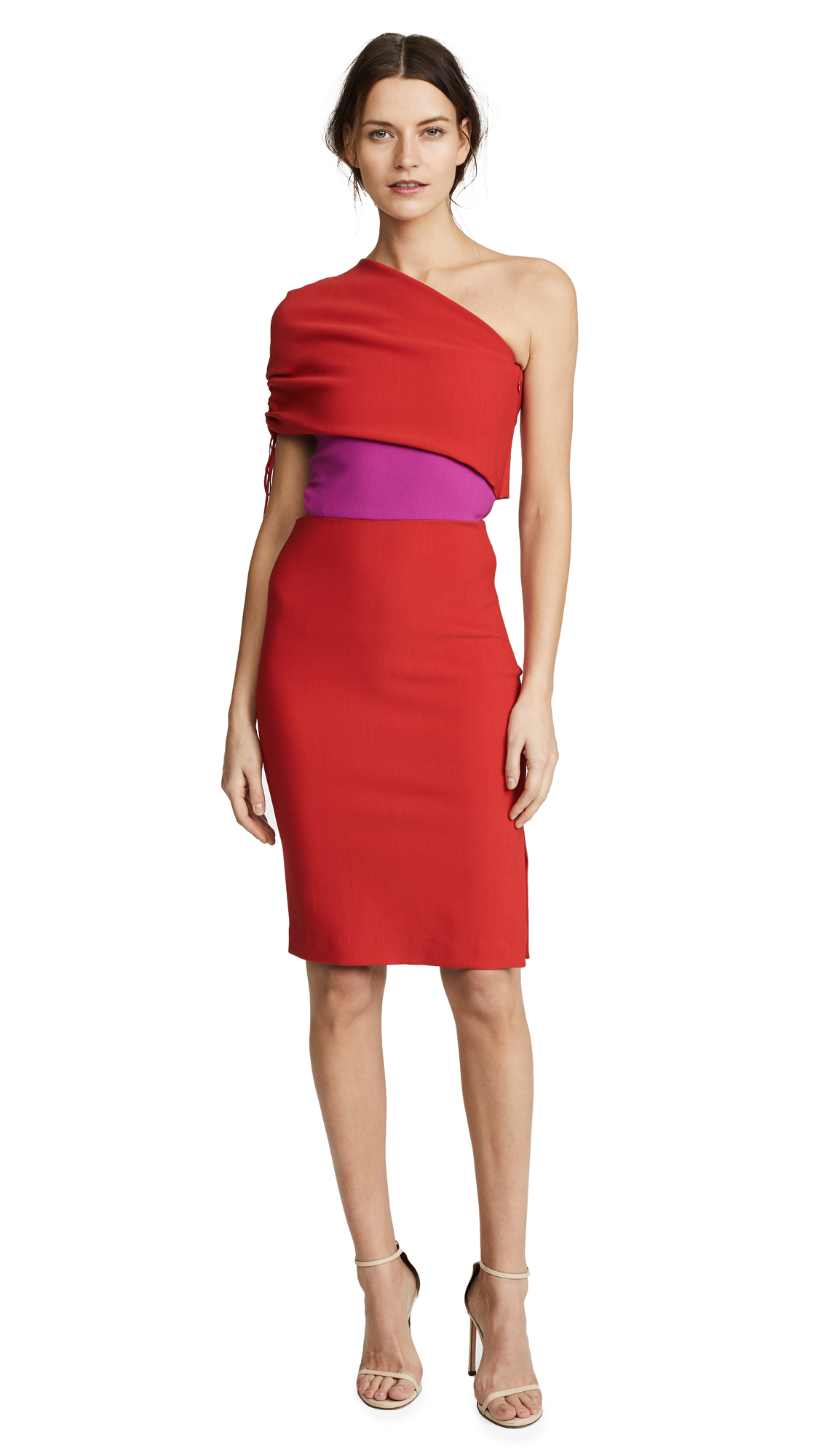 HANEY Briana One Shoulder Dress with Ruched Sleeve