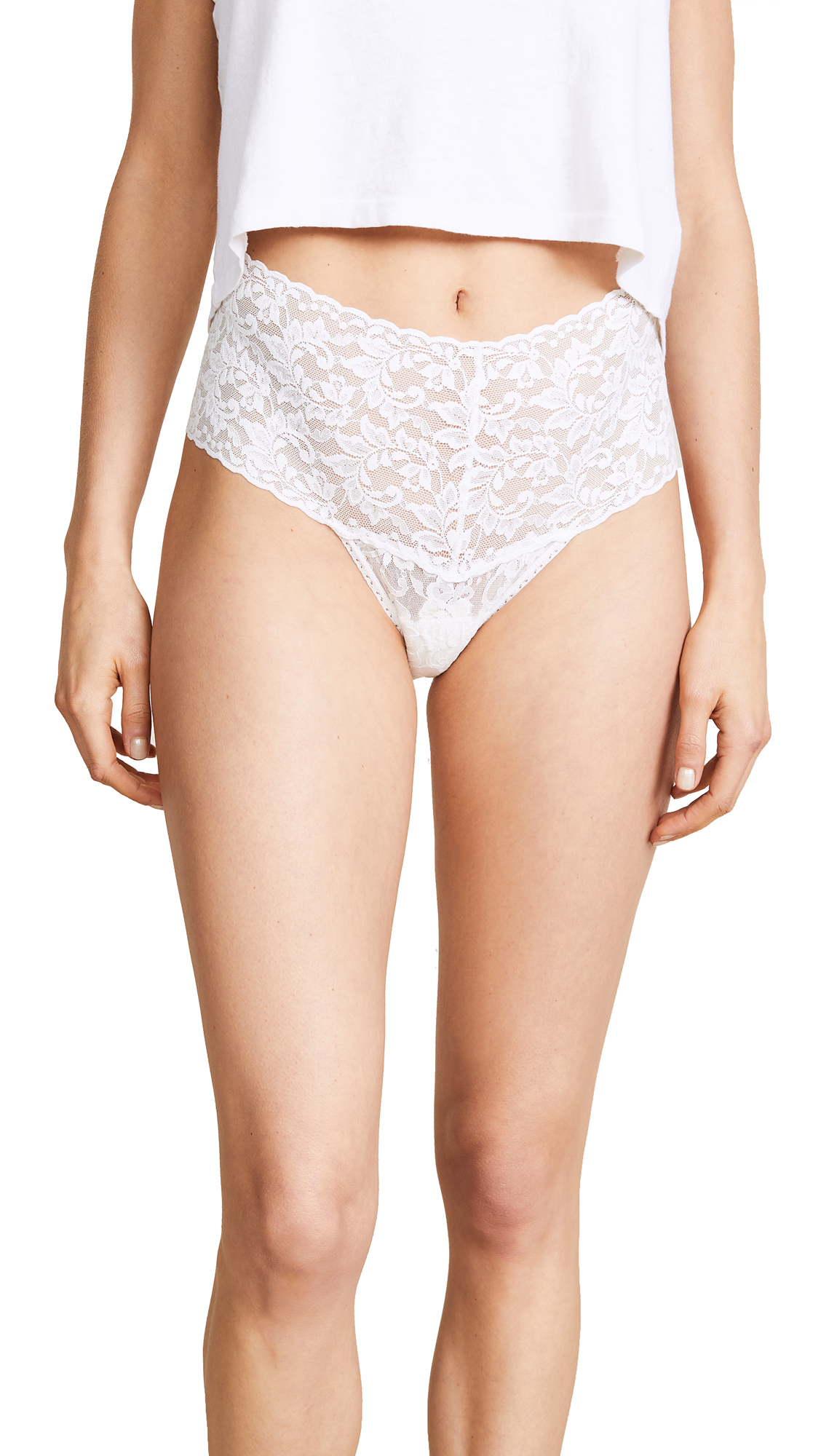 Hanky Panky Signature Lace Retro Thong In Marshmallow