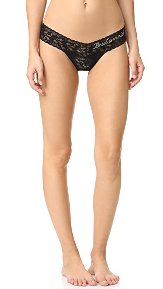 Hanky Panky Bridesmaid Low Rise Thong In Black/Clear Crystals