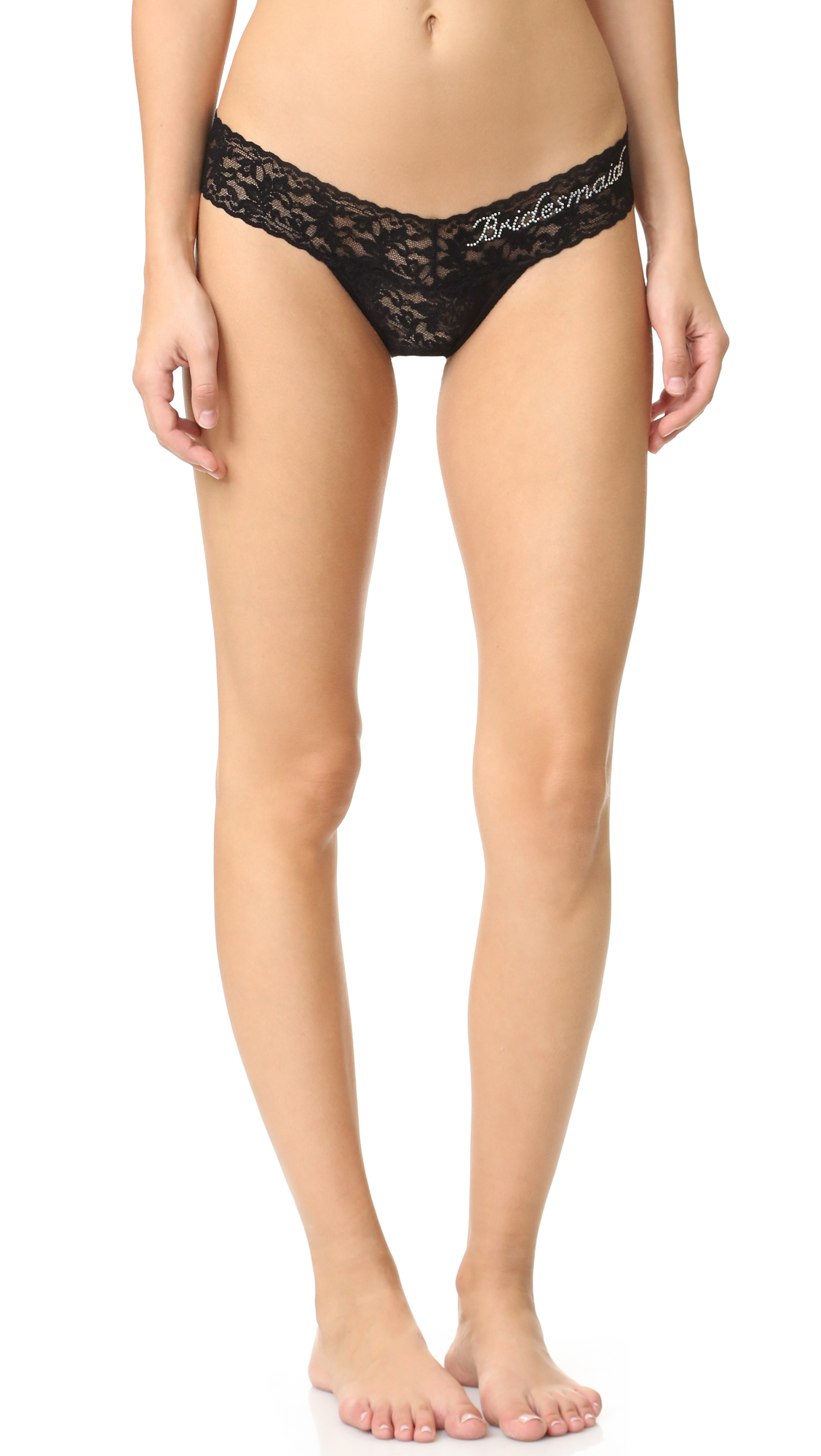 hanky panky female 189025 hanky panky bridesmaid low rise thong blackclear crystals