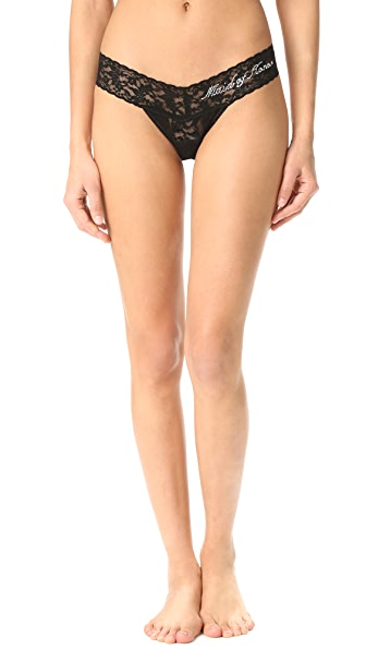 Hanky Panky Maid of Honor Low Rise Thong - Black/Clear Crystals